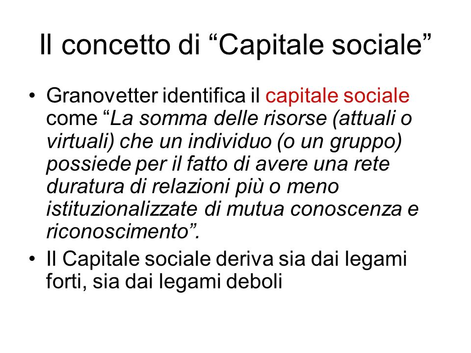 Il concetto di Capitale sociale