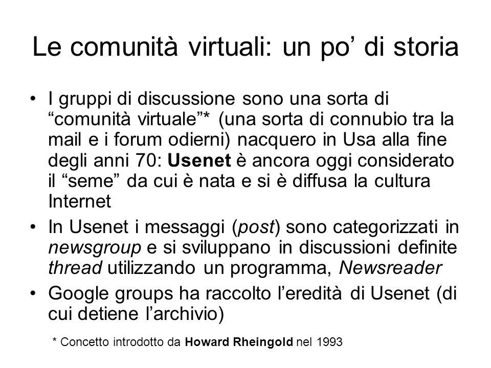 Le comunità virtuali: un po' di storia
