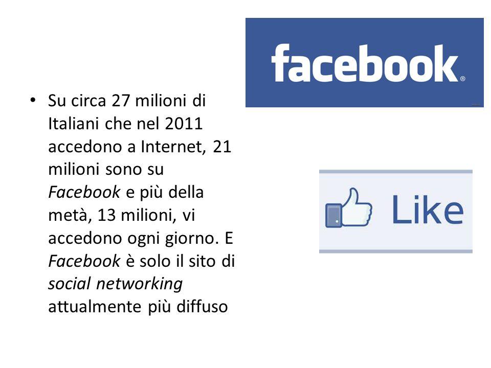 Su circa 27 milioni di Italiani che nel 2011 accedono a Internet, 21 milioni sono su Facebook e più della metà, 13 milioni, vi accedono ogni giorno.