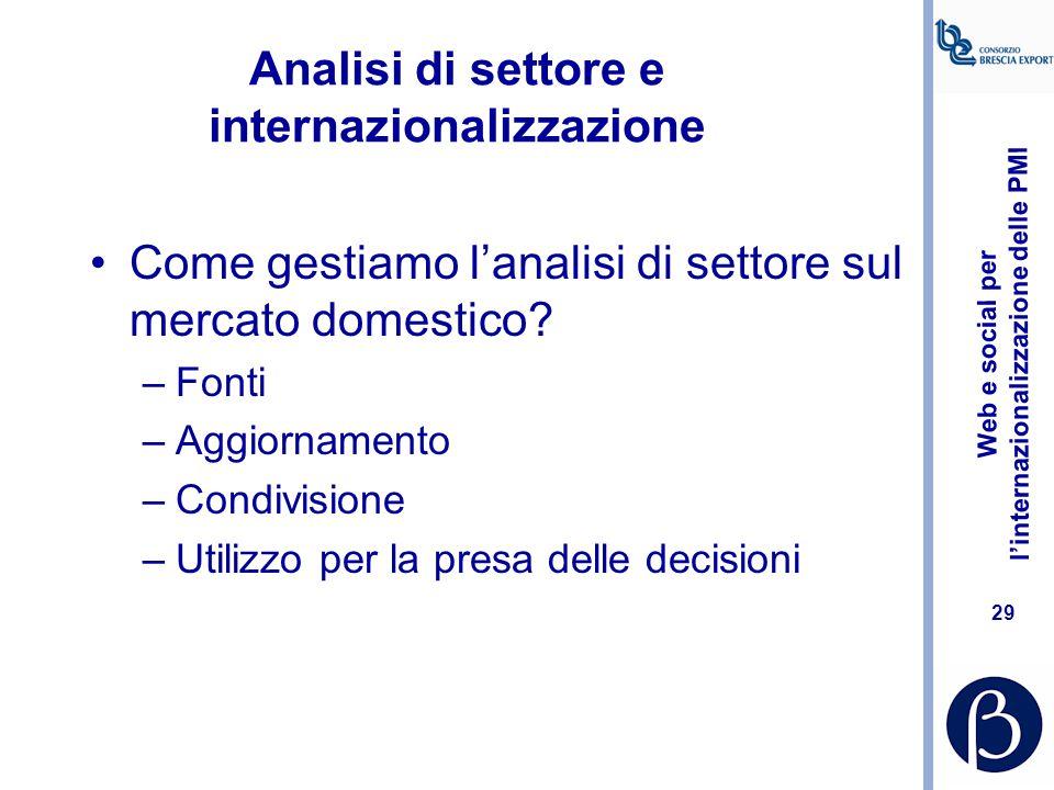 Analisi di settore e internazionalizzazione