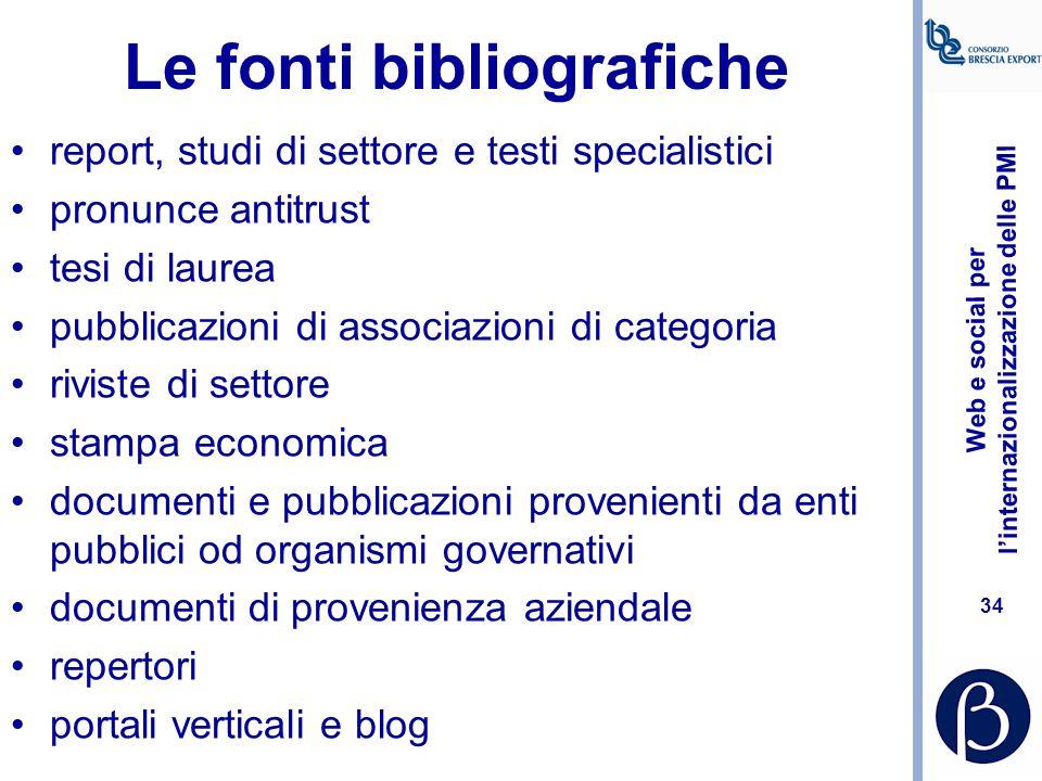 Le fonti bibliografiche