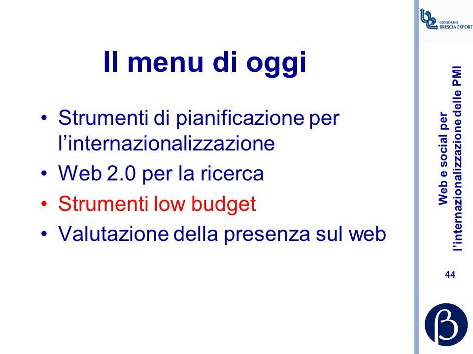 Il menu di oggi Strumenti di pianificazione per l'internazionalizzazione. Web 2.0 per la ricerca. Strumenti low budget.