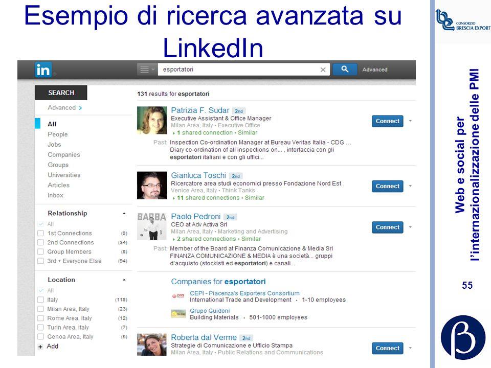 Esempio di ricerca avanzata su LinkedIn
