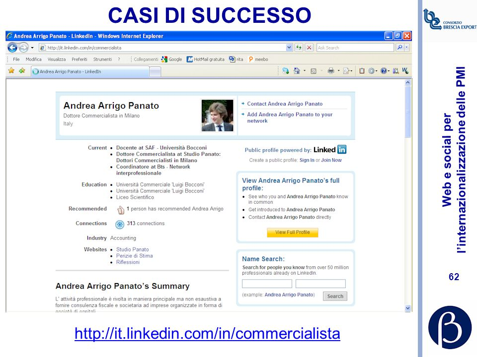 CASI DI SUCCESSO http://it.linkedin.com/in/commercialista