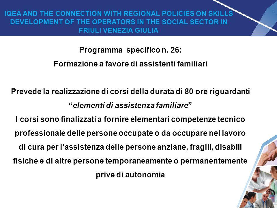 Programma specifico n. 26: Formazione a favore di assistenti familiari
