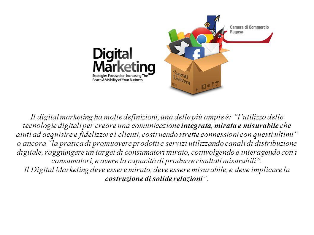 Il digital marketing ha molte definizioni, una delle più ampie è: l'utilizzo delle tecnologie digitali per creare una comunicazione integrata, mirata e misurabile che aiuti ad acquisire e fidelizzare i clienti, costruendo strette connessioni con questi ultimi