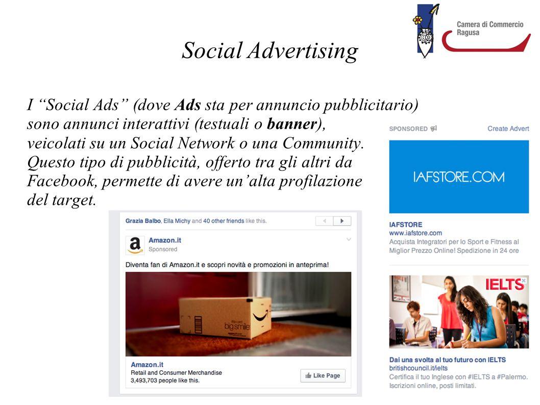 Social Advertising I Social Ads (dove Ads sta per annuncio pubblicitario) sono annunci interattivi (testuali o banner),