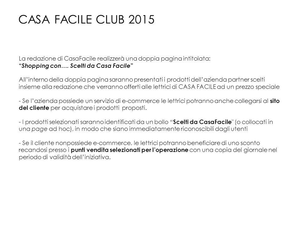 CASA FACILE CLUB 2015 La redazione di CasaFacile realizzerà una doppia pagina intitolata: Shopping con…. Scelti da Casa Facile