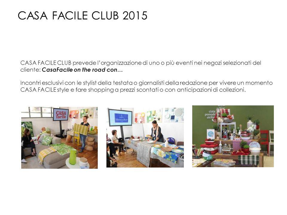 CASA FACILE CLUB 2015 CASA FACILE CLUB prevede l'organizzazione di uno o più eventi nei negozi selezionati del cliente: CasaFacile on the road con…