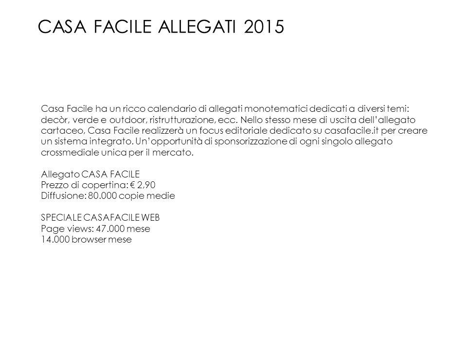 CASA FACILE ALLEGATI 2015 Casa Facile ha un ricco calendario di allegati monotematici dedicati a diversi temi: