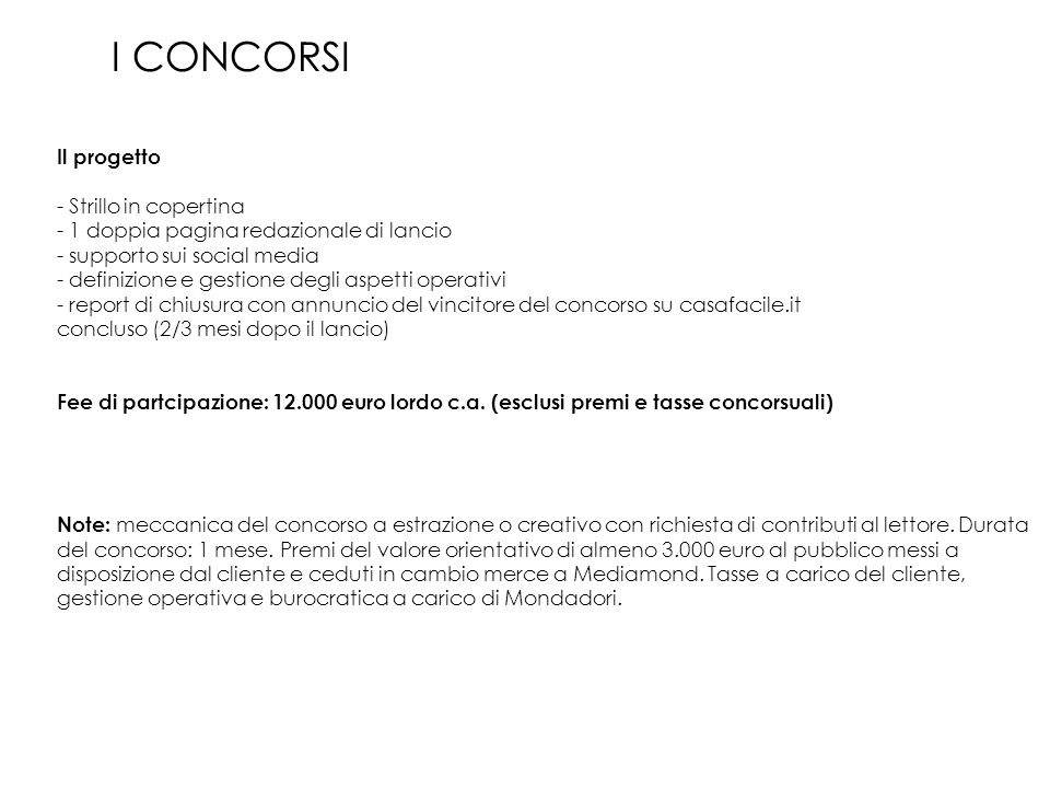 I CONCORSI Il progetto - Strillo in copertina