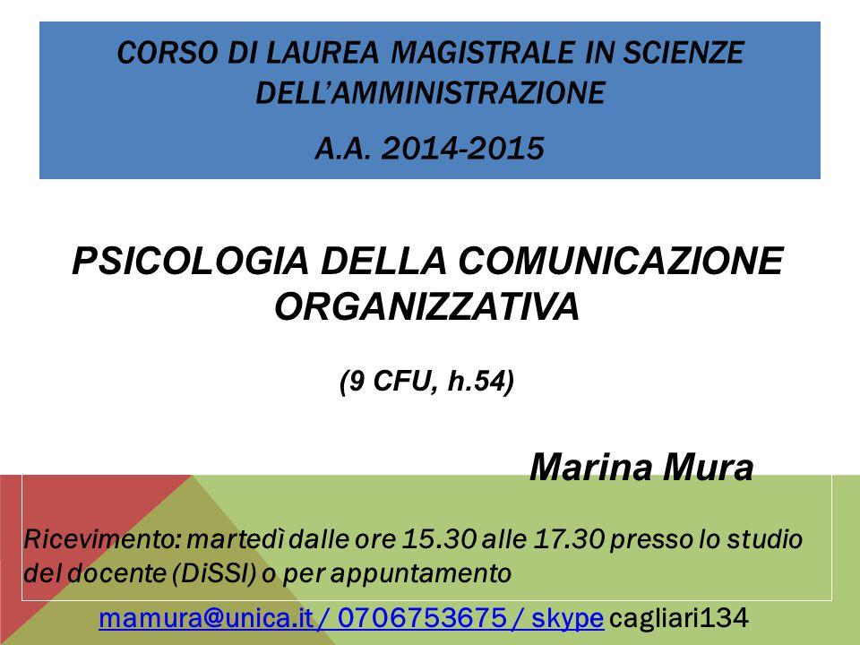 PSICOLOGIA DELLA COMUNICAZIONE ORGANIZZATIVA Marina Mura