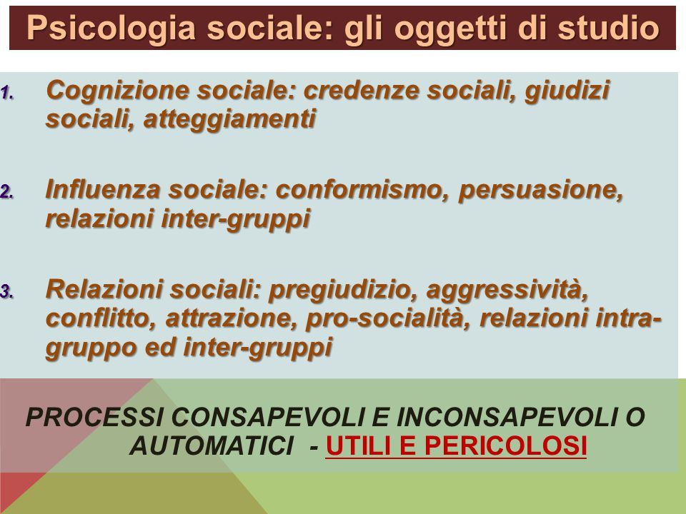 Psicologia sociale: gli oggetti di studio