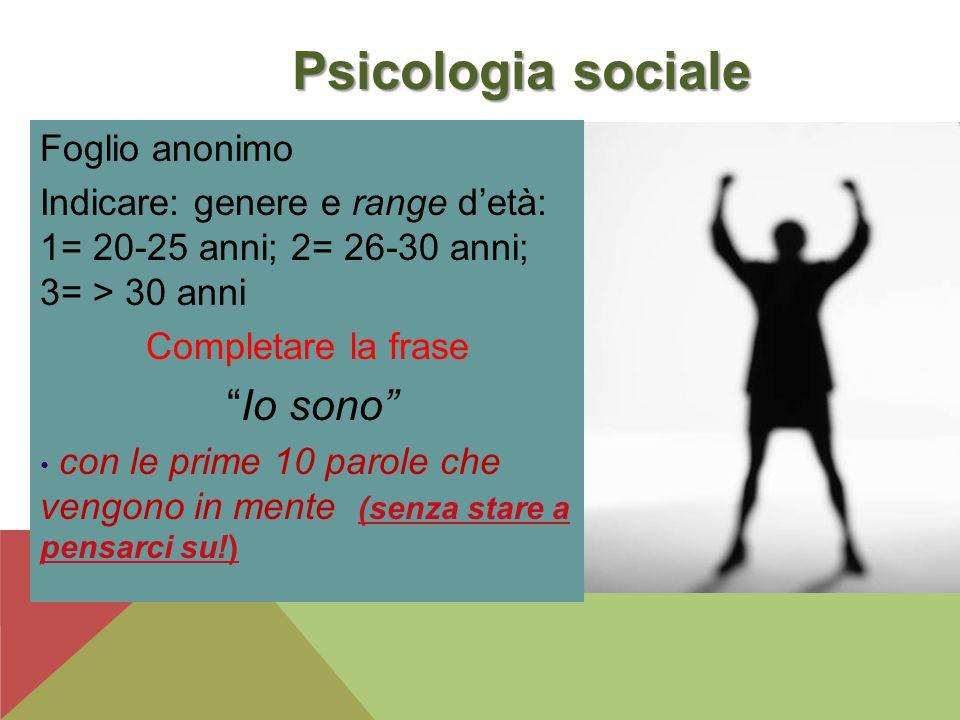 Psicologia sociale Foglio anonimo