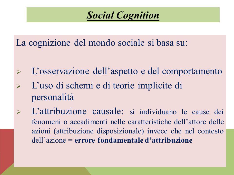 Social Cognition La cognizione del mondo sociale si basa su: