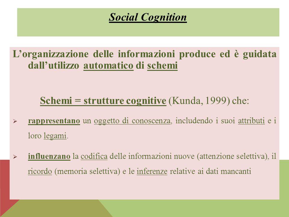 Schemi = strutture cognitive (Kunda, 1999) che: