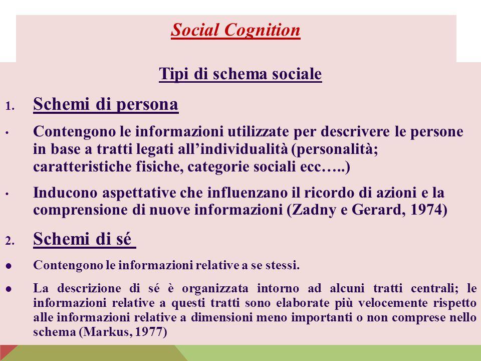 Social Cognition Schemi di persona Schemi di sé Tipi di schema sociale