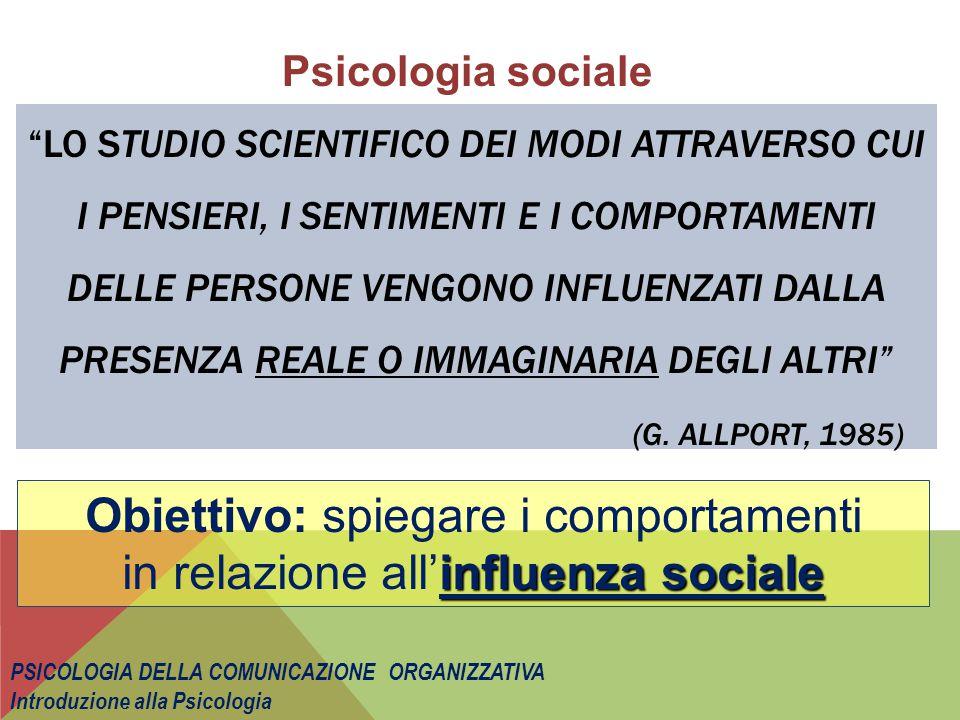 Obiettivo: spiegare i comportamenti in relazione all'influenza sociale