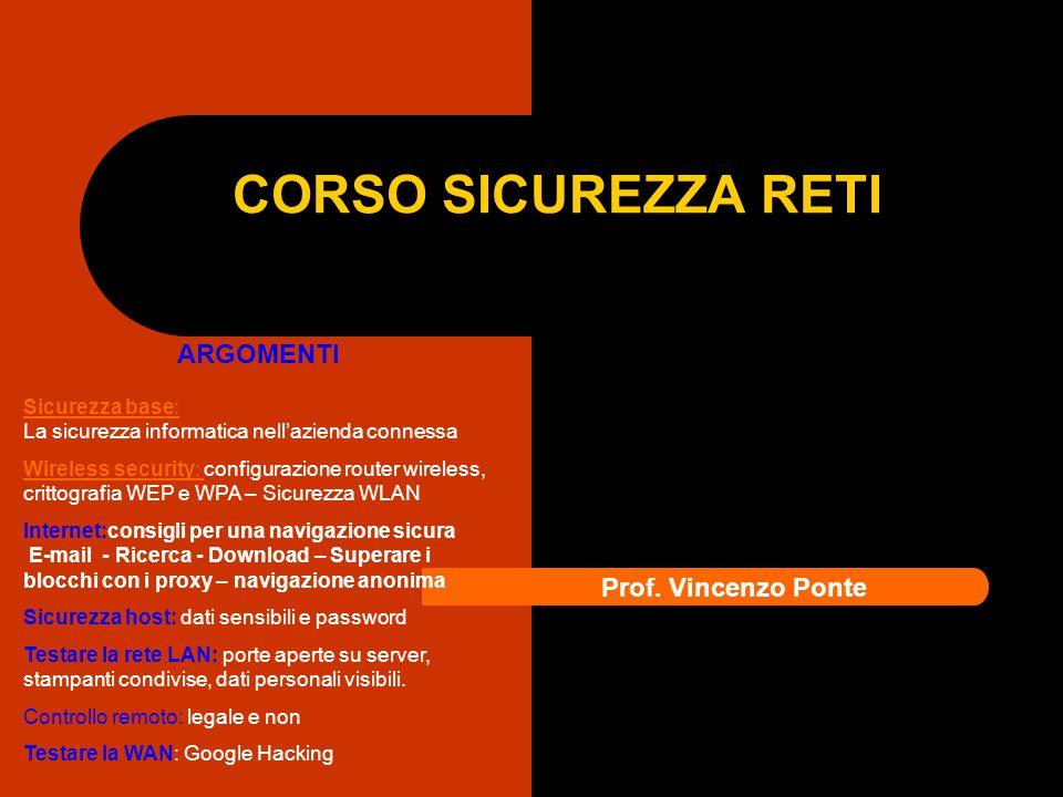 CORSO SICUREZZA RETI Prof. Vincenzo Ponte