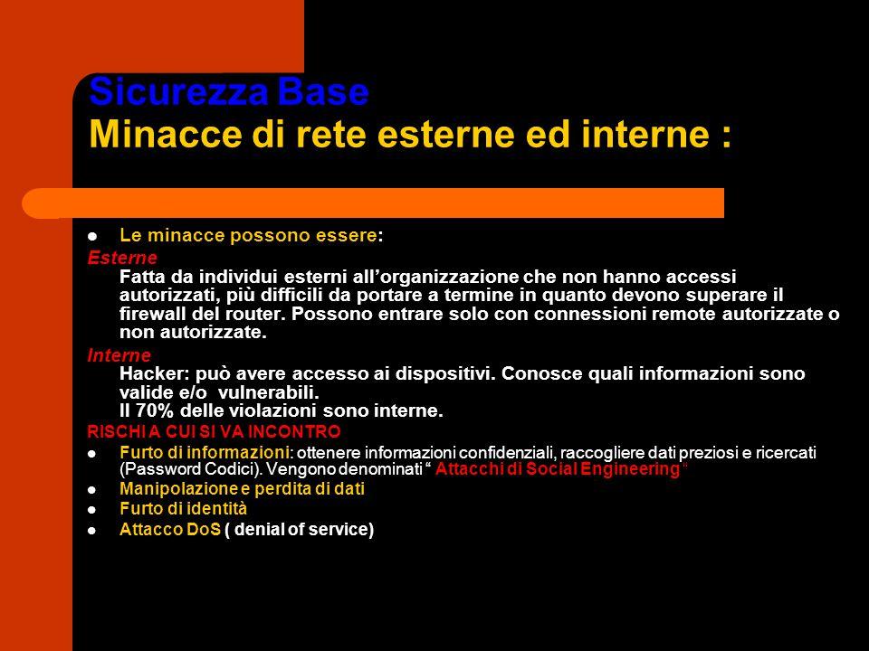Sicurezza Base Minacce di rete esterne ed interne :