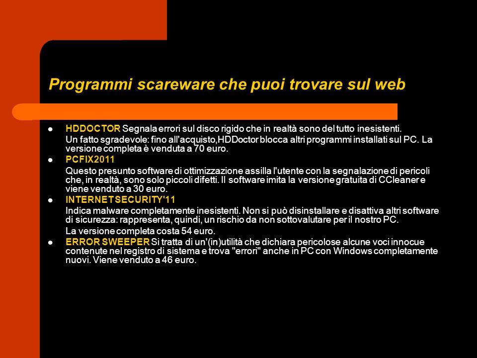 Programmi scareware che puoi trovare sul web