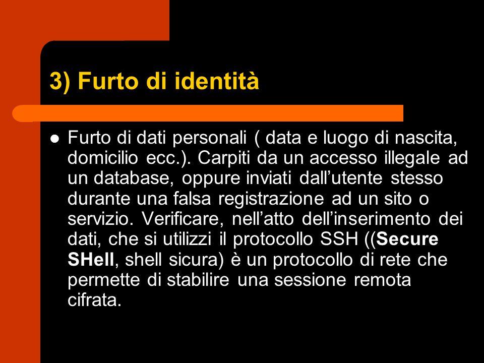 3) Furto di identità