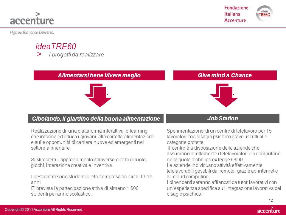 ideaTRE60 I progetti da realizzare Alimentarsi bene Vivere meglio