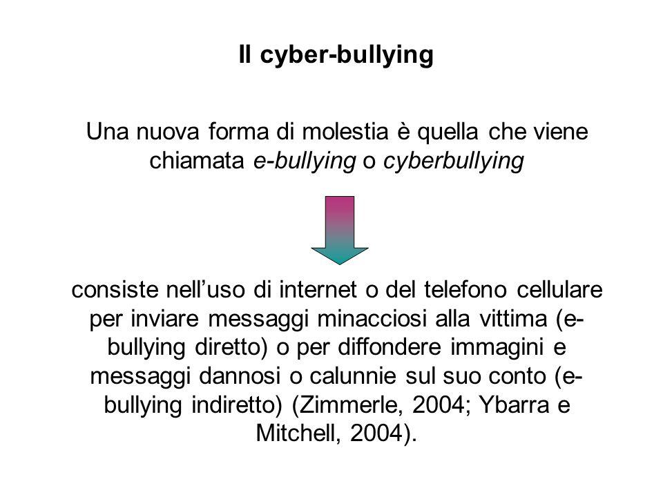 Il cyber-bullying Una nuova forma di molestia è quella che viene chiamata e-bullying o cyberbullying.