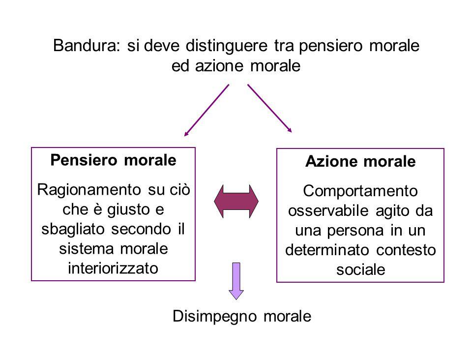Bandura: si deve distinguere tra pensiero morale ed azione morale
