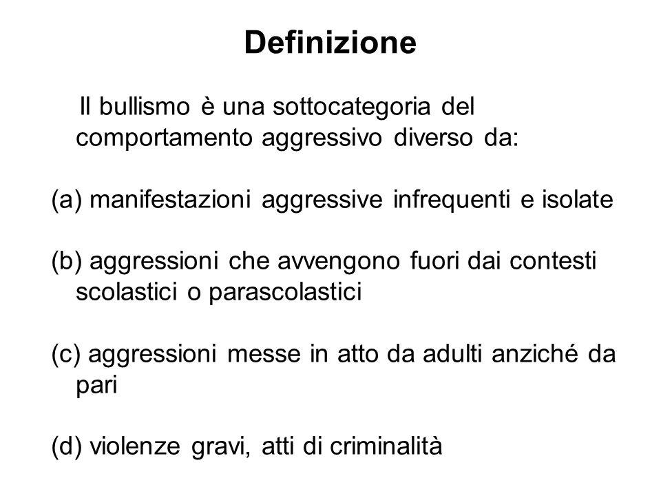 Definizione Il bullismo è una sottocategoria del comportamento aggressivo diverso da: manifestazioni aggressive infrequenti e isolate.