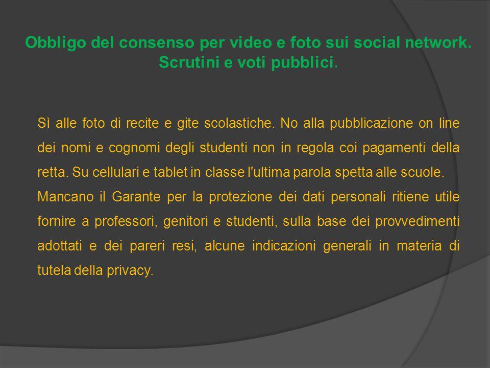 Obbligo del consenso per video e foto sui social network.