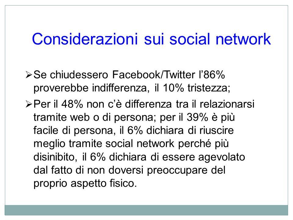 Considerazioni sui social network