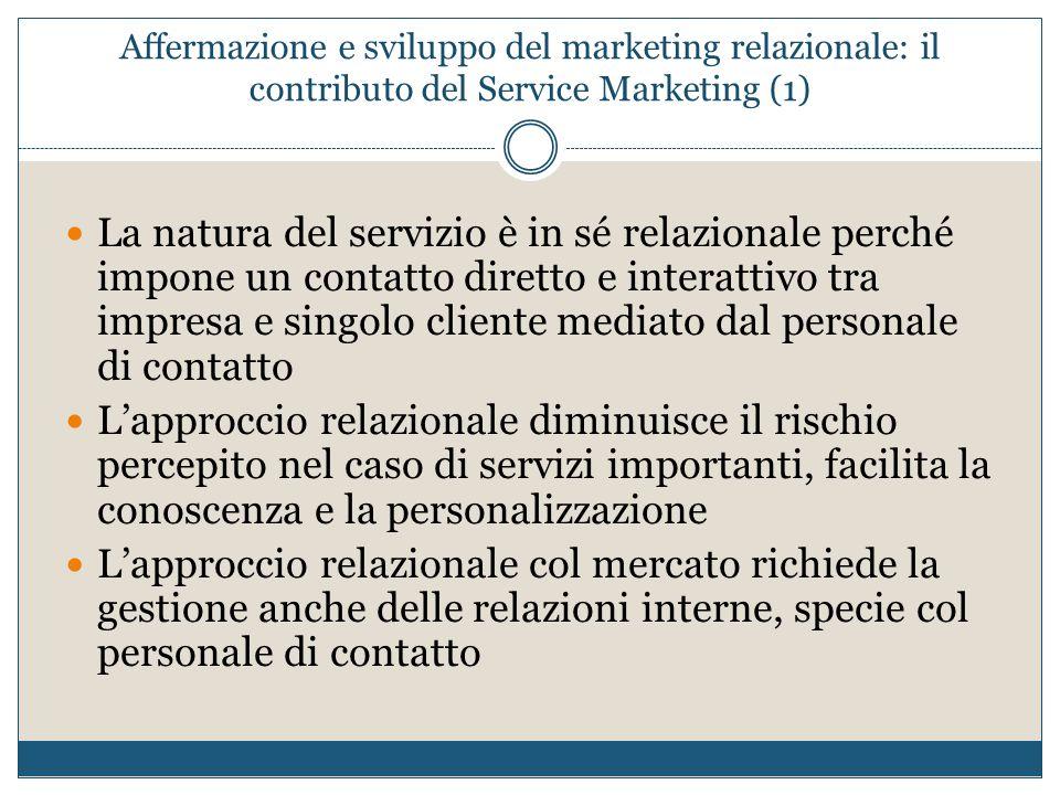 Affermazione e sviluppo del marketing relazionale: il contributo del Service Marketing (1)