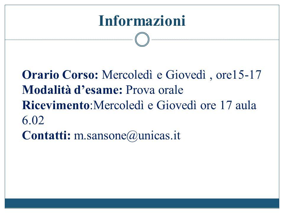 Informazioni Orario Corso: Mercoledì e Giovedì , ore15-17