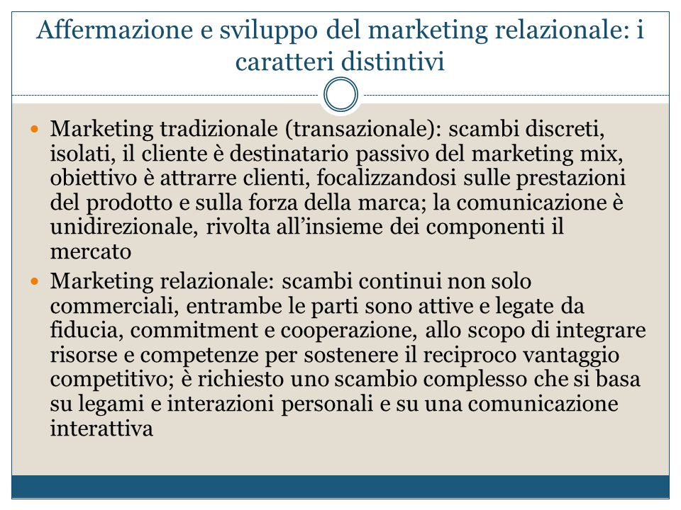 Affermazione e sviluppo del marketing relazionale: i caratteri distintivi
