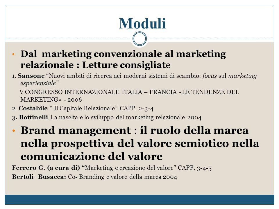 Moduli Dal marketing convenzionale al marketing relazionale : Letture consigliate.