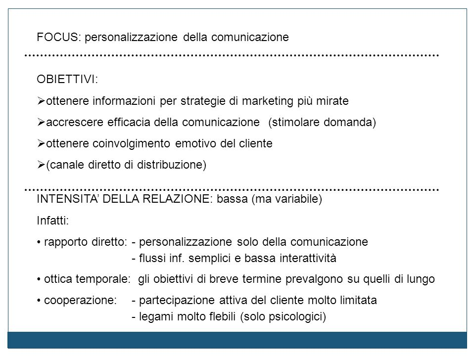 FOCUS: personalizzazione della comunicazione