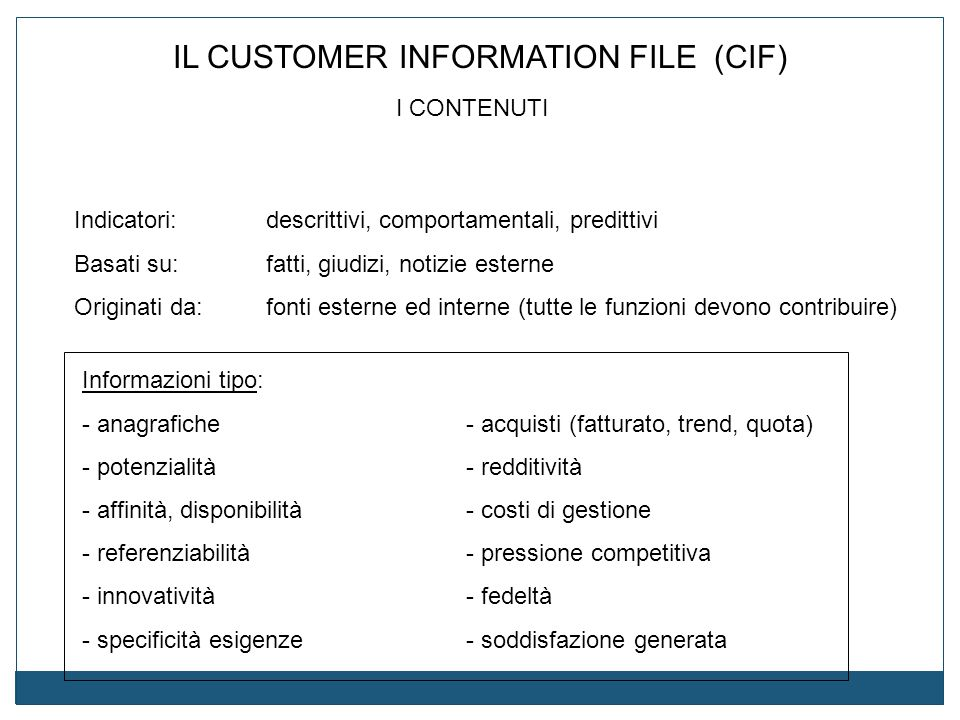 IL CUSTOMER INFORMATION FILE (CIF)