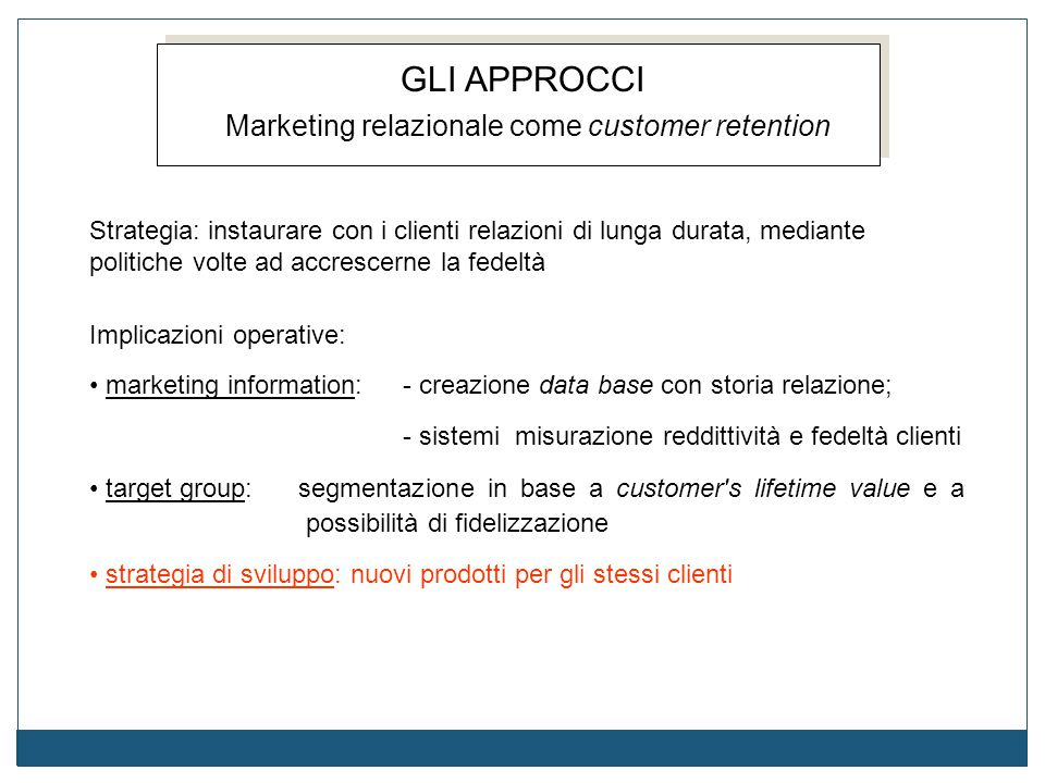 Marketing relazionale come customer retention