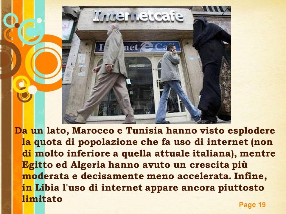Da un lato, Marocco e Tunisia hanno visto esplodere la quota di popolazione che fa uso di internet (non di molto inferiore a quella attuale italiana), mentre Egitto ed Algeria hanno avuto un crescita più moderata e decisamente meno accelerata.