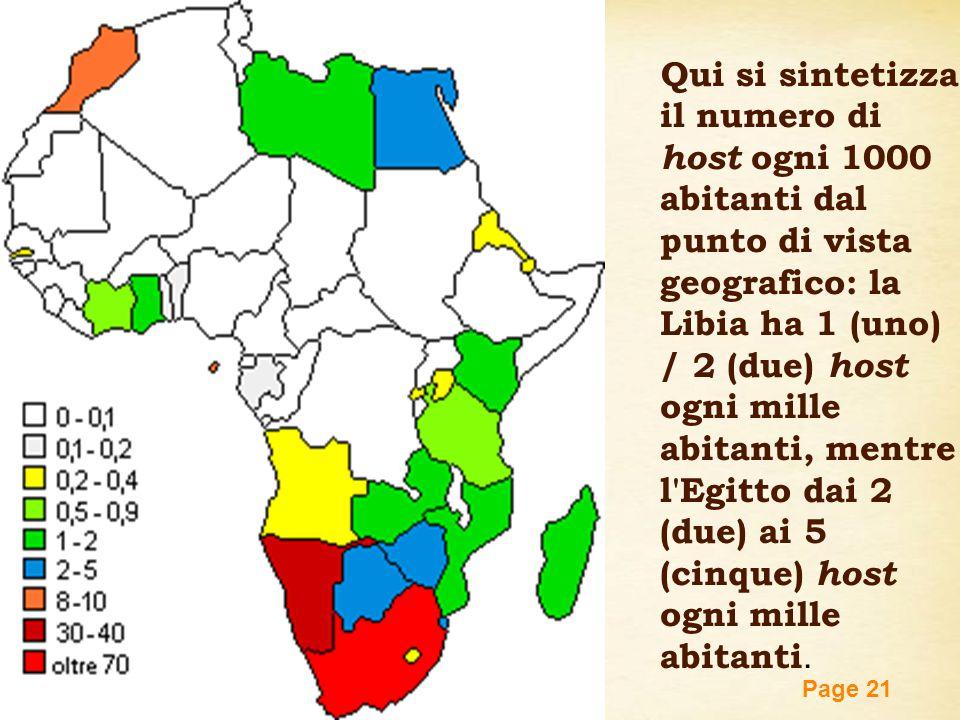 Qui si sintetizza il numero di host ogni 1000 abitanti dal punto di vista geografico: la Libia ha 1 (uno) / 2 (due) host ogni mille abitanti, mentre l Egitto dai 2 (due) ai 5 (cinque) host ogni mille abitanti.