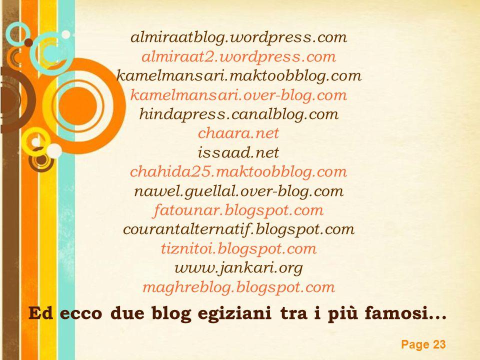 Ed ecco due blog egiziani tra i più famosi...