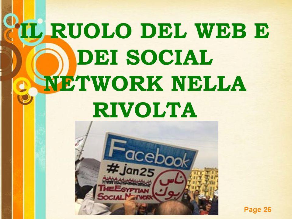 IL RUOLO DEL WEB E DEI SOCIAL NETWORK NELLA RIVOLTA