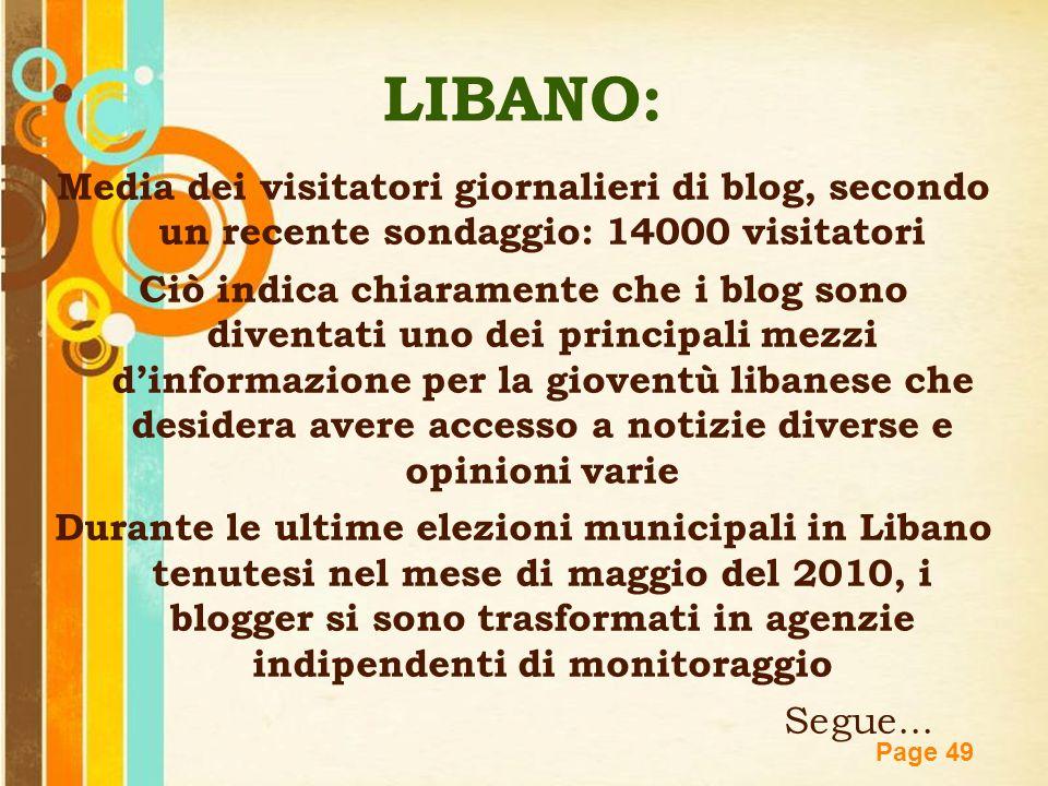 LIBANO: Media dei visitatori giornalieri di blog, secondo un recente sondaggio: 14000 visitatori.