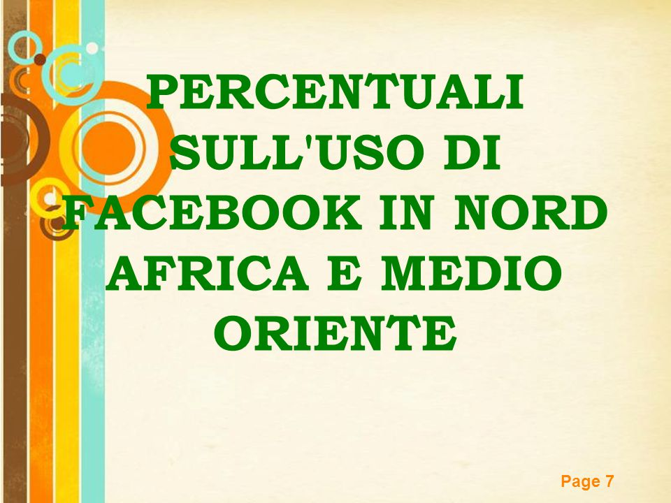 PERCENTUALI SULL USO DI FACEBOOK IN NORD AFRICA E MEDIO ORIENTE