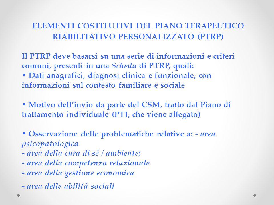 ELEMENTI COSTITUTIVI DEL PIANO TERAPEUTICO RIABILITATIVO PERSONALIZZATO (PTRP)