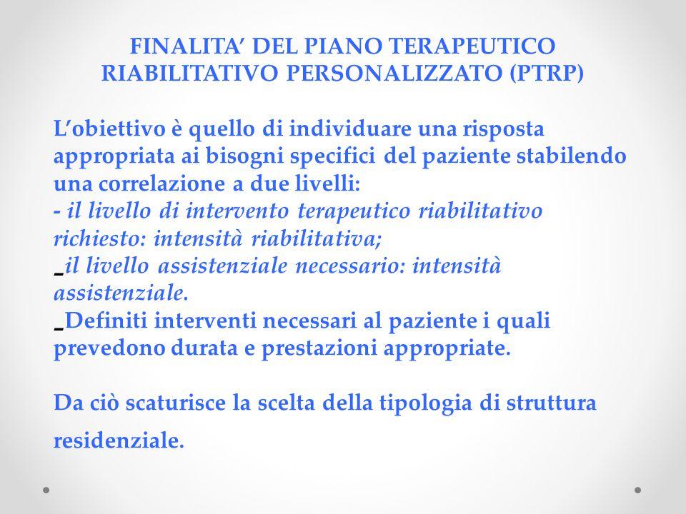 FINALITA' DEL PIANO TERAPEUTICO RIABILITATIVO PERSONALIZZATO (PTRP)