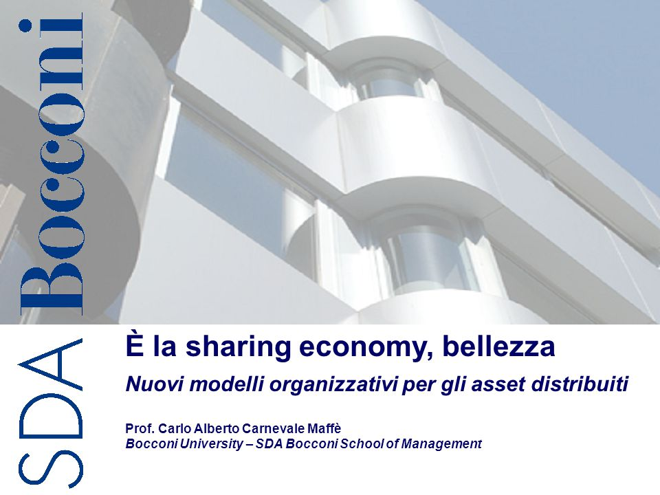 È la sharing economy, bellezza