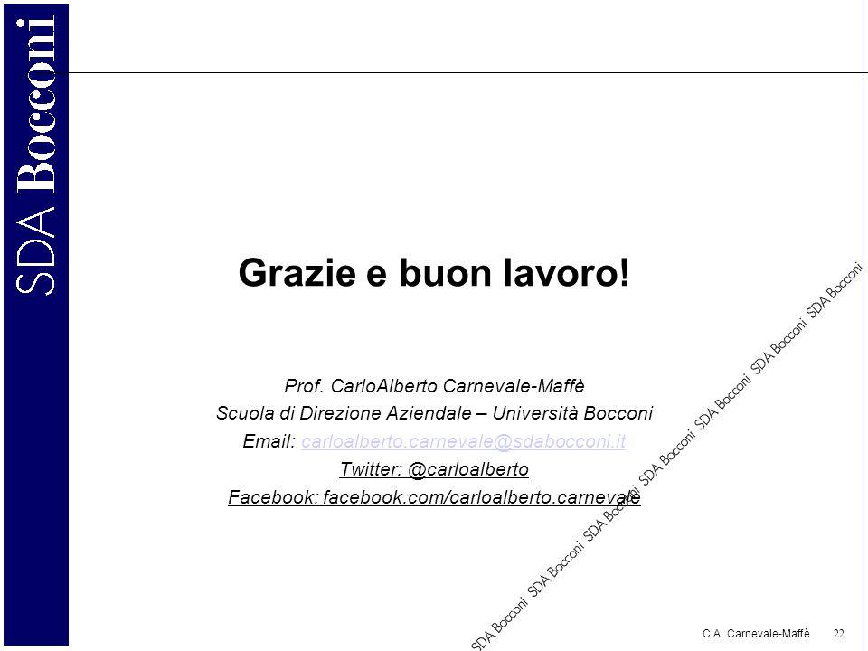 Grazie e buon lavoro! Prof. CarloAlberto Carnevale-Maffè