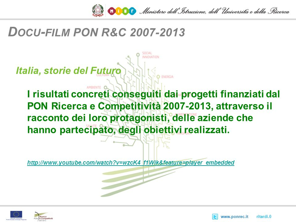 Docu-film PON R&C 2007-2013 Italia, storie del Futuro